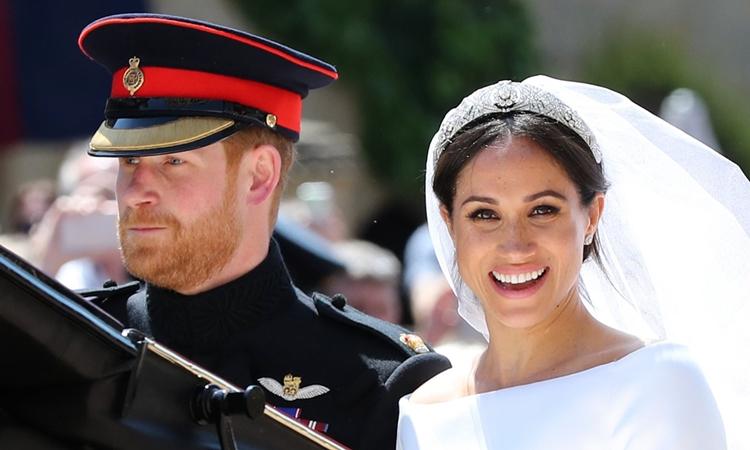 Vợ chồng Harry trong đám cưới hồi tháng 5/2018. Ảnh: AFP.