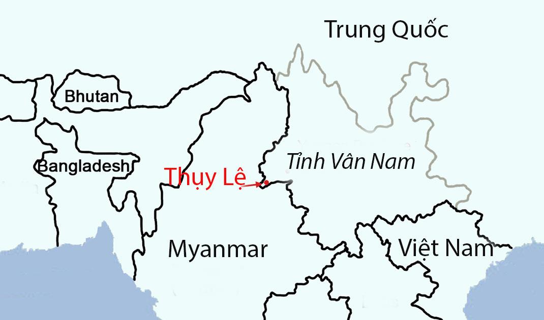Vị trí thành phố Thụy Lệ giáp biên giới Myanmar. Đồ họa: Plos.