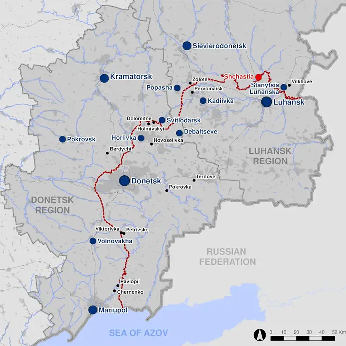 Vị trí khu vực Donbass. Đồ họa: OSCE.