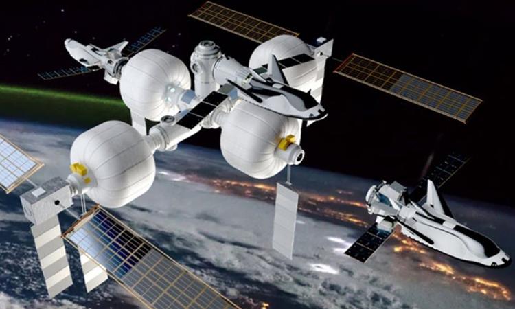 Thiết kế trạm vũ trụ của công ty Sierra Nevada với các buồng bơm hơi.  Ảnh: Sierra Nevada.