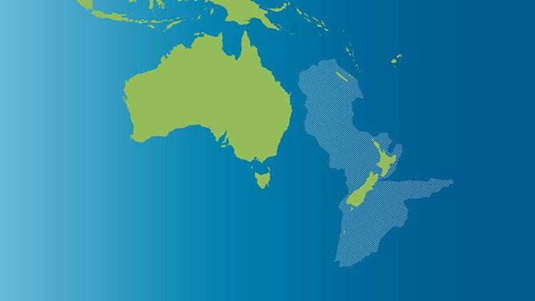 Mô phỏng lục địa Zealandia với màu xám là phần chìm dưới nước. Ảnh: LaSexta.