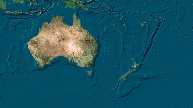 Ảnh vệ tinh cho thấy Zealandia hiện nay chìm gần như hoàn toàn dưới biển. Ảnh: SPL/Nature.