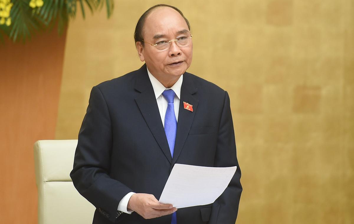 Thủ tướng Nguyễn Xuân Phúc phát biểu tại phiên họp Chính phủ thường kỳ tháng 3/2021, phiên họp cuối cùng trước khi kiện toàn thành viên Chính phủ. Ảnh: Quang Hiếu