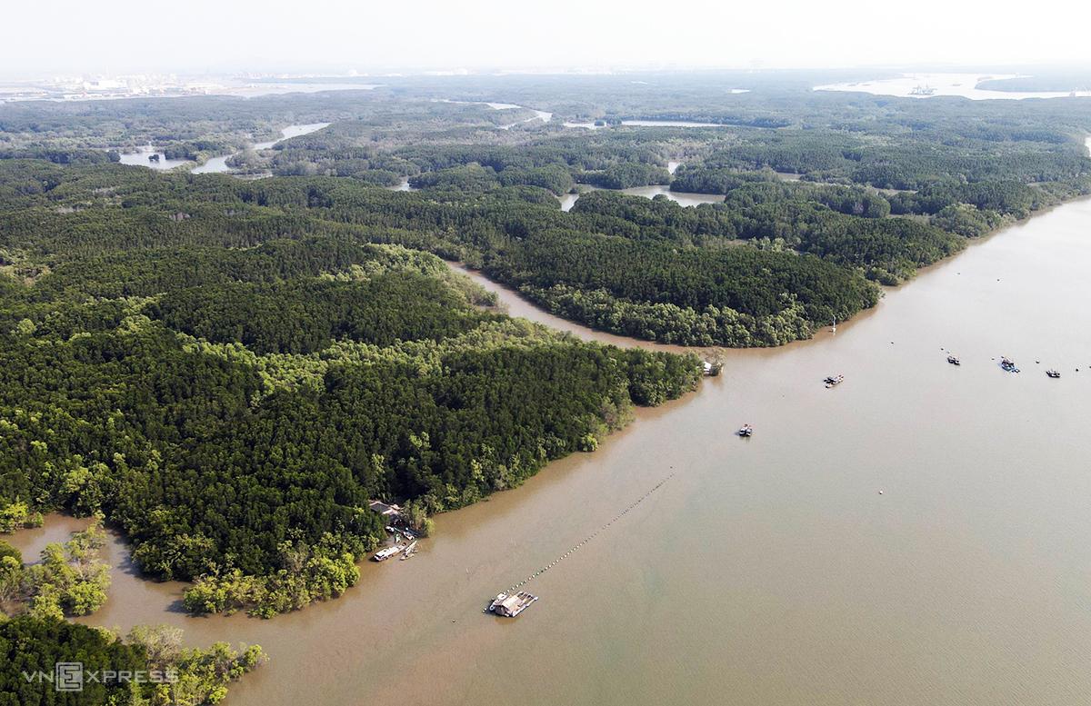 Một góc xã đảo Thạnh An nhìn từ trên cao vào tháng 3/2021. Ảnh: Phước Tuấn.