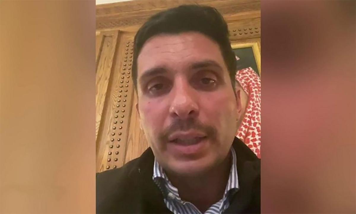 Hoàng tử Hamzah bin Hussein trong video gửi BBC ngày 3/4. Ảnh chụp màn hình.