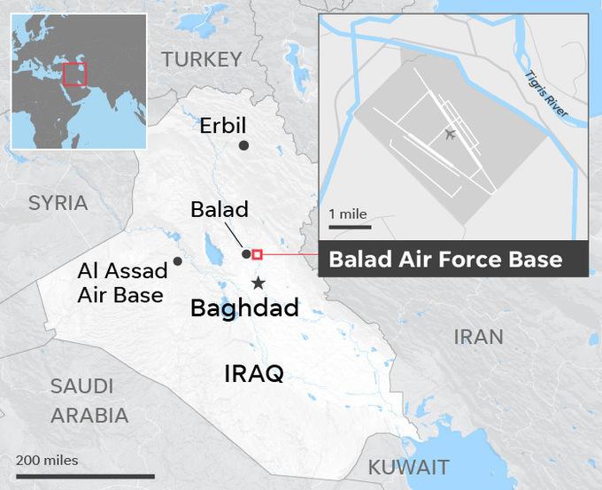 Vị trí căn cứ không quân al-Balad. Đồ họa: USA Today.