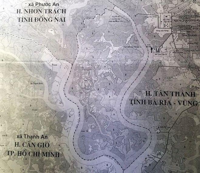 Cù lao Gò Gia (khu vực đường đứt đoạn) từng là tranh chấp giữa TP HCM và Đồng Nai. Ảnh: Tư liệu.