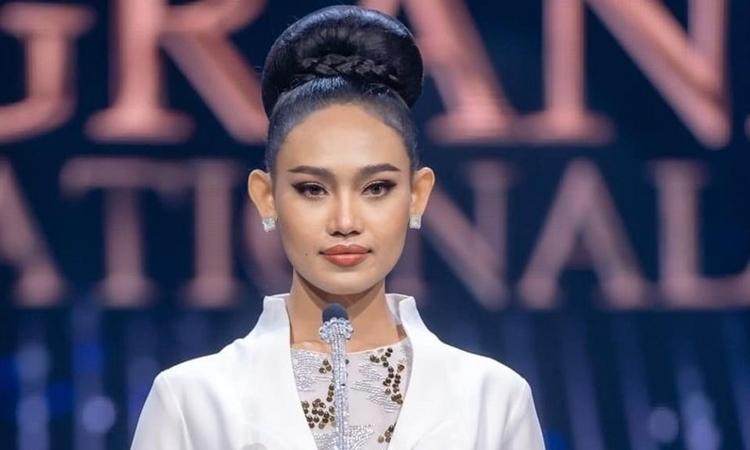 Hoa hậu Myanmar Han Lay tại cuộc thi Hoa hậu Hòa bình Quốc tế tại Bangkok hôm 27/3. Ảnh: CTV News.