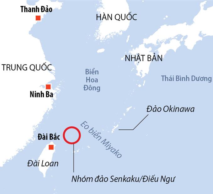 Vị trí nhóm đảo Senkaku/Điếu Ngư. Đồ họa: AFP.