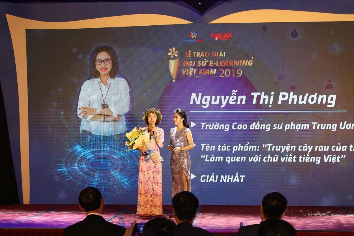 Vượt qua hơn 2.000 tác phẩm dự thi, cô Phương giành giải nhất Đại sứ E-learning Việt Nam 2019. Ảnh: Nhân vật cung cấp