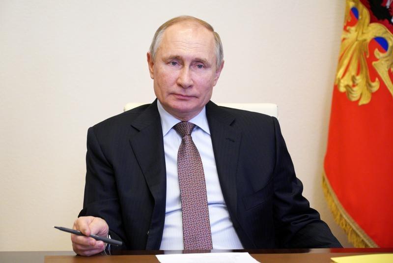 Tổng thống Nga Putin trong một hội nghị video ở tòa nhà chính phủ tại Novo-Ogaryovo, ngoại ô Moskva, Nga, hôm 31/3. Ảnh: Reuters