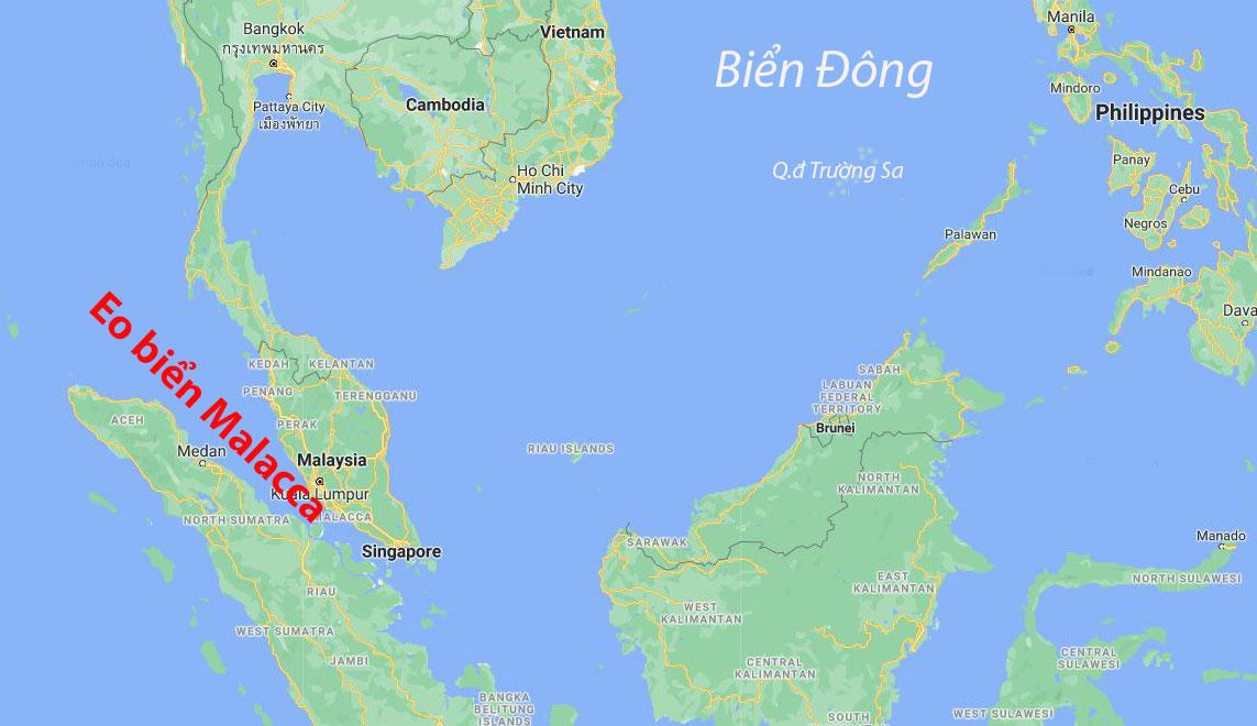 Vị trí eo biển Malacca ở cửa ngõ Biển Đông. Đồ họa: Google Maps.