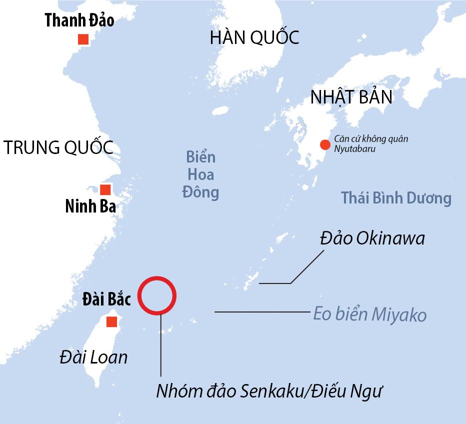 Vị trí nhóm đảo Senkaku/Điếu Ngư và căn cứ không quân Nyutabaru. Đồ họa: AFP.