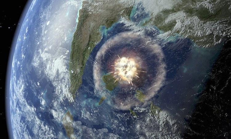 Mô phỏng thiên thạch 12 km đâm vào Trái Đất. Ảnh: SPL.