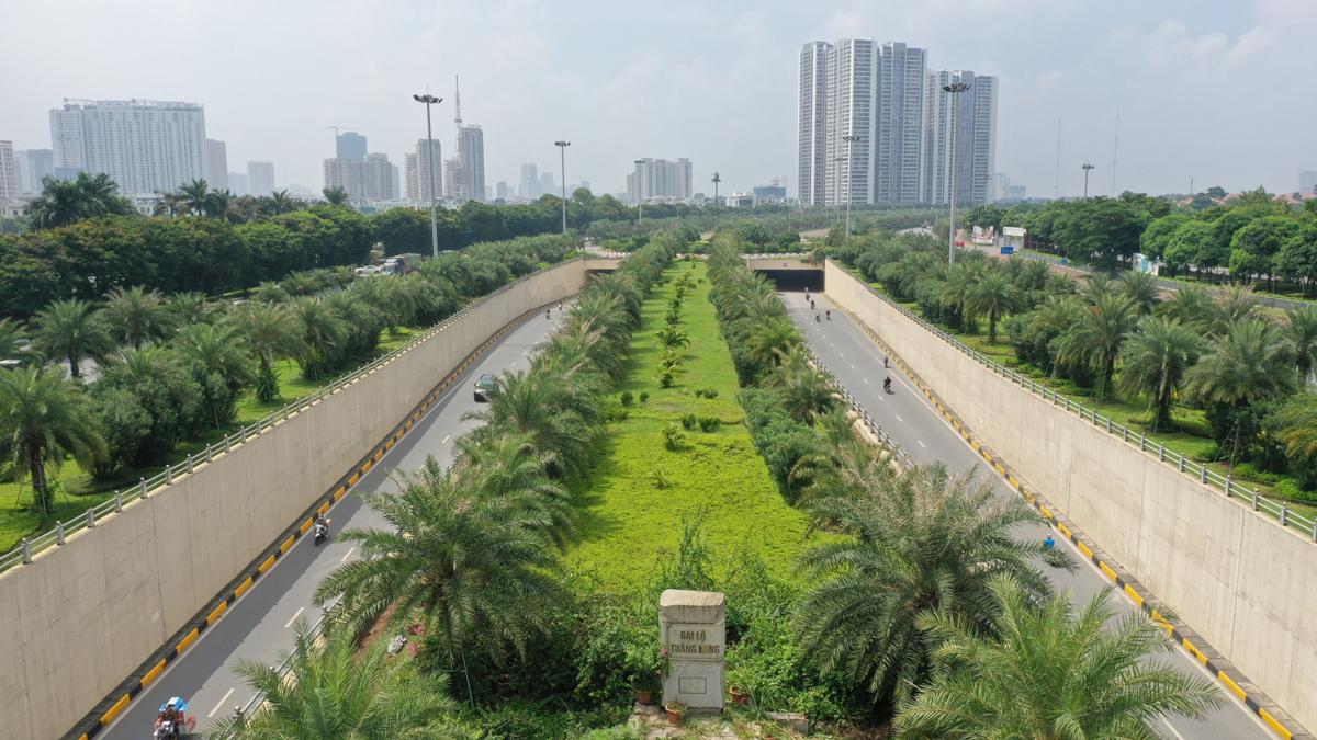 Hàng chục nghìn cây xanh được trồng ở dọc Đại lộ Thăng Long. Ảnh: Ngọc Thành.