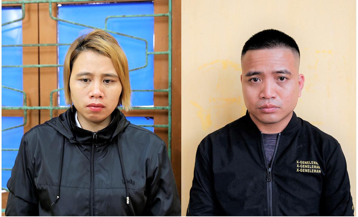 Bà trùm Phạm Thị Hà và đồng bọn Nguyễn Xuân Thắng bị bắt, khởi tố với cáo buộc Tổ chức, đưa dẫn hoặc môi giới cho người khác xuất cảnh, nhập cảnh Việt Nam trái phép. Ảnh: Công an Hải Dương