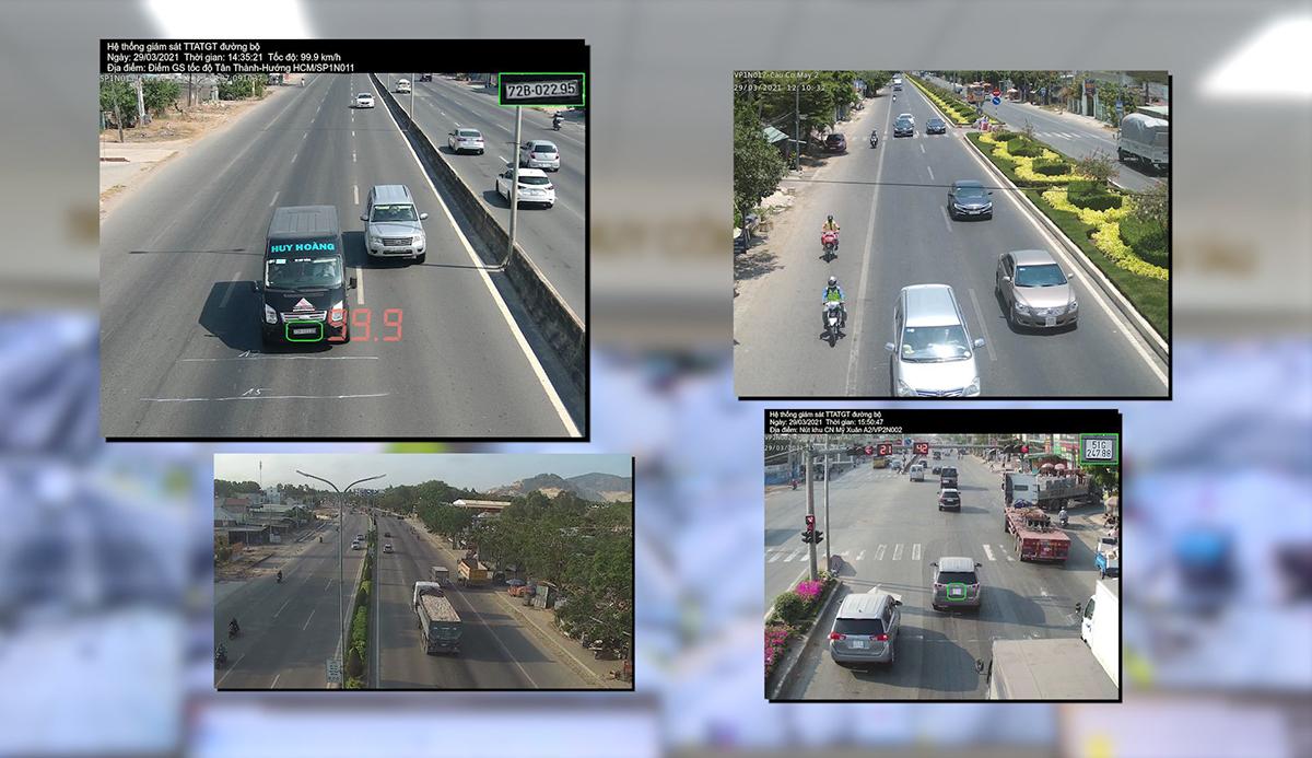 Hệ thống tự động nhận dạng, ghi nhận và cảnh báo phương tiện vi phạm luật giao thông đường bộ. Ảnh: Quang Bình.