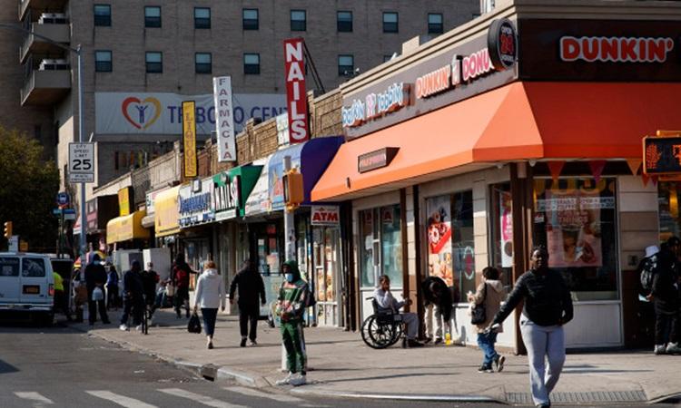 Góc phố ở New York, nơi người đàn ông gốc Á bị hành hung cuối tuần trước. Ảnh: NY Post.