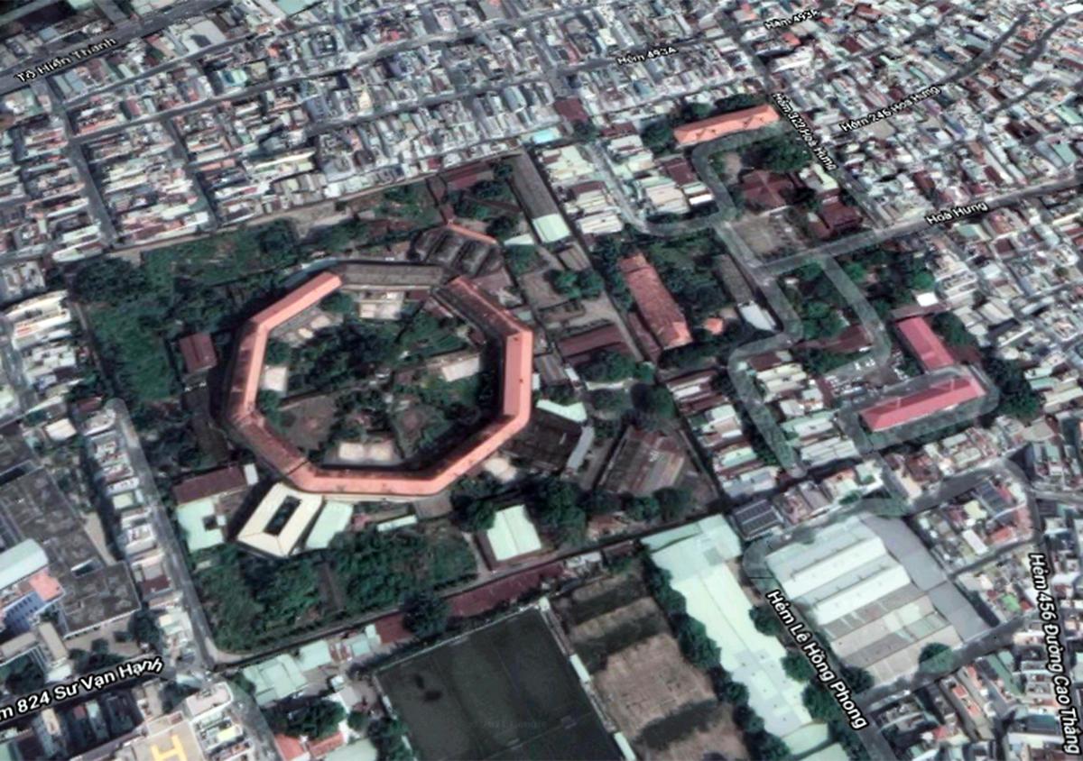 Toàn cảnh trại giam Chí Hoà nhìn từ vệ tinh. Ảnh: Google maps.