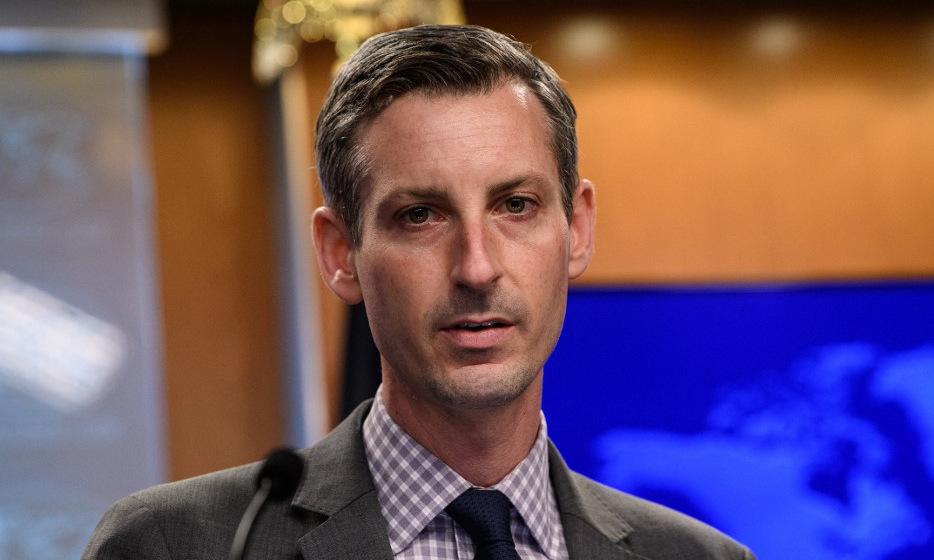 Phát ngôn viên Price trong một cuộc họp báo hồi tháng 2. Ảnh: AFP.