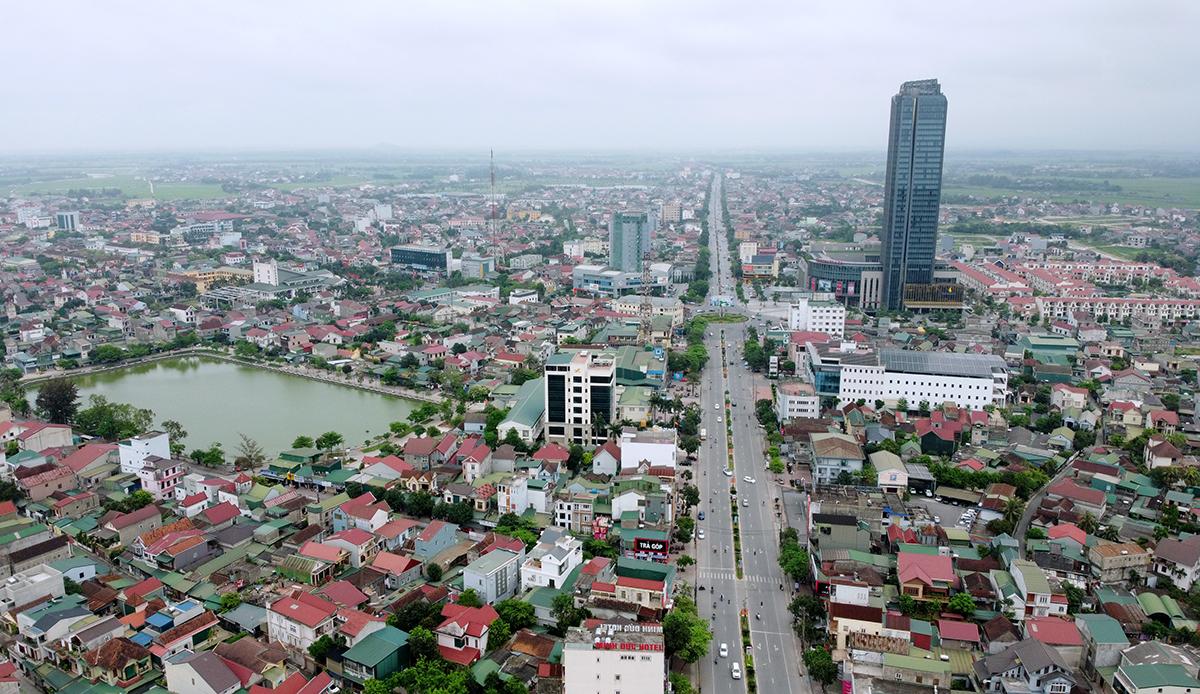 Trung tâm thành phố Hà Tĩnh nhìn từ trên cao. Ảnh: Đức Hùng