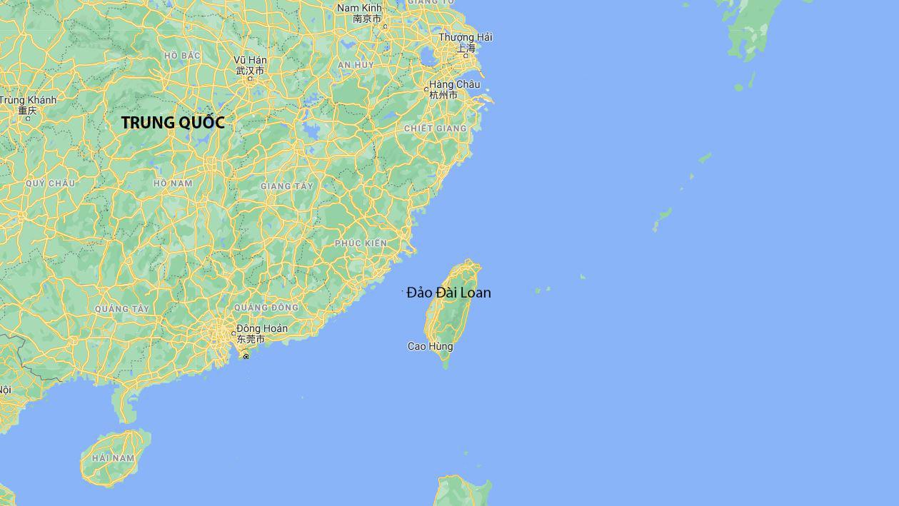 Vị trí Trung Quốc đại lục và đảo Đài Loan. Đồ họa: Google Maps.