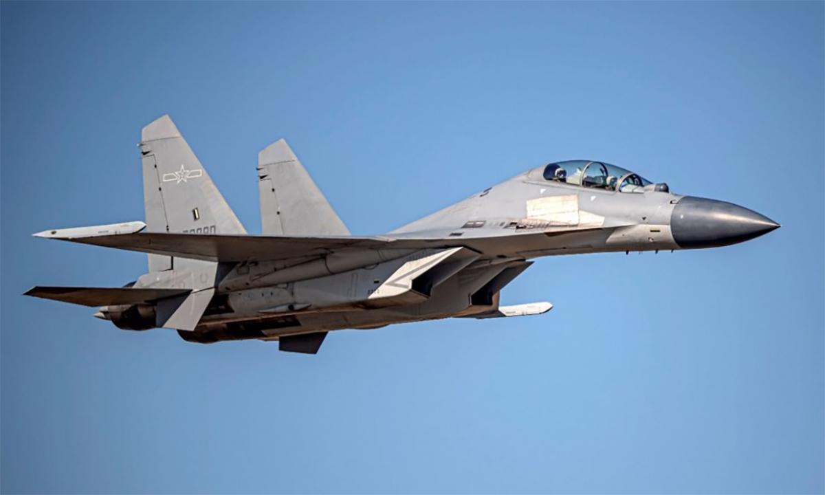 Tiêm kích J-16 của không quân Trung Quốc trong một lần áp sát đảo Đài Loan. Ảnh: Cơ quan phòng vệ Đài Loan.
