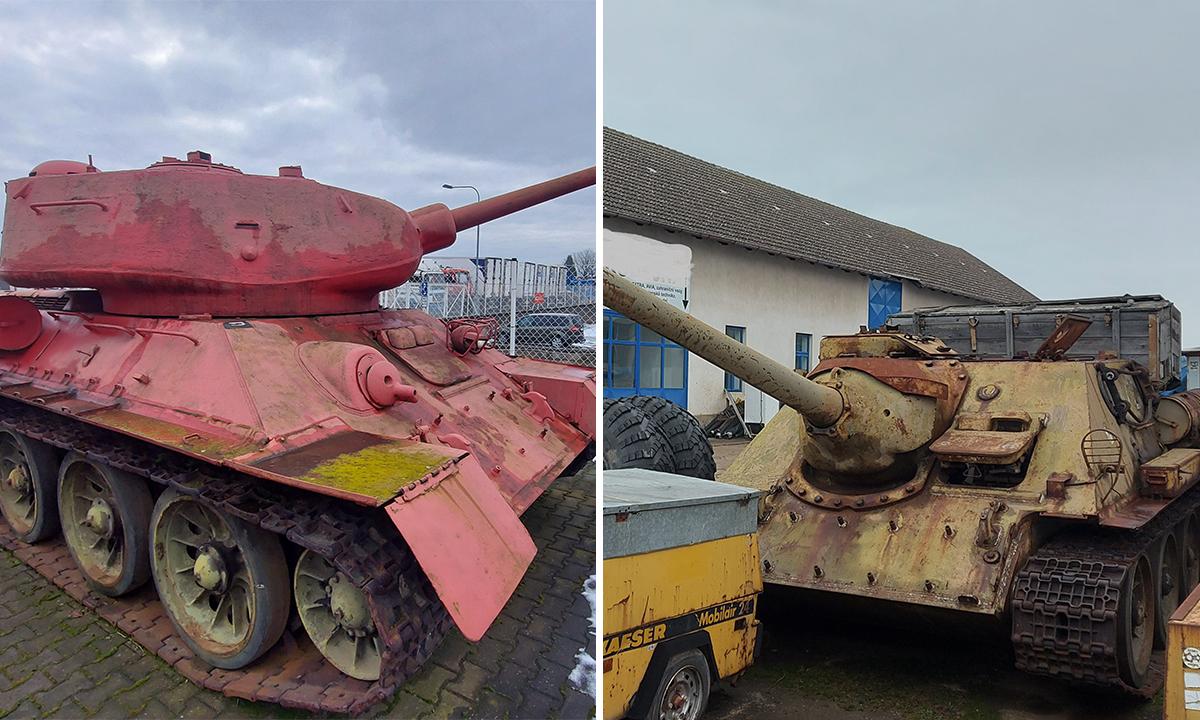 Xe tăng T-34-85 (trái) và pháo tự hành SD-100 (phải) của nhà sưu tập ở Hradec Kralove, Cezch. Ảnh: Policie CR.