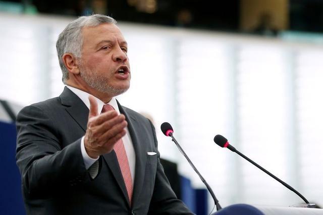 Vua Abdullah II phát biểu trước Nghị viện châu Âu ở Strasbourg, Pháp, hồi tháng 1/2020. Ảnh: Reuters