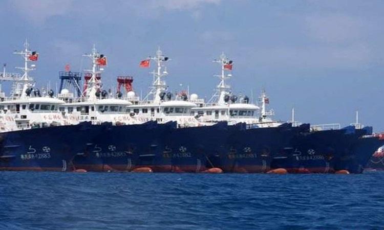 Tàu do dân quân biển Trung Quốc điều khiển neo đậu trong lãnh hải đảo Sinh Tồn Đông, thuộc quần đảo Trường Sa của Việt Nam. Ảnh: AFP.