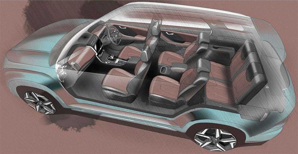 Với cách bố trí 6 ghế, hàng ghế giữa sẽ có hai ghế tách biệt. Ảnh: Hyundai
