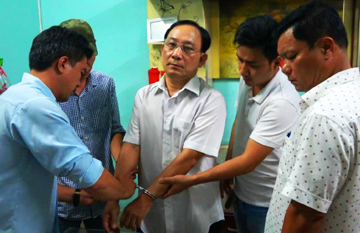 Nguyễn Văn Ngưu bị cảnh sát bắt giữ chiều hôm qua. Ảnh: Công an Tiền Giang
