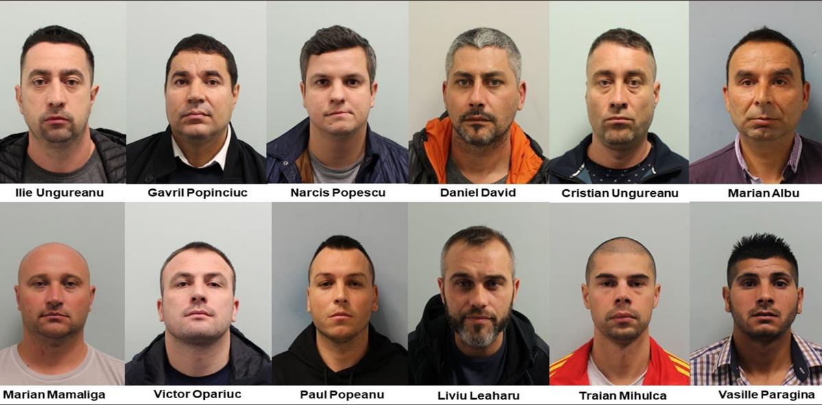 12 người trong số 13 nghi phạm bị bắt giữ vì dính líu tới chuỗi vụ đột nhập nhà kho. Ảnh: Metropolitan Police.