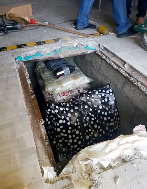 Hầm ngầm đựng sách tại garage của anh em Ungureanu. Ảnh: SWNS.