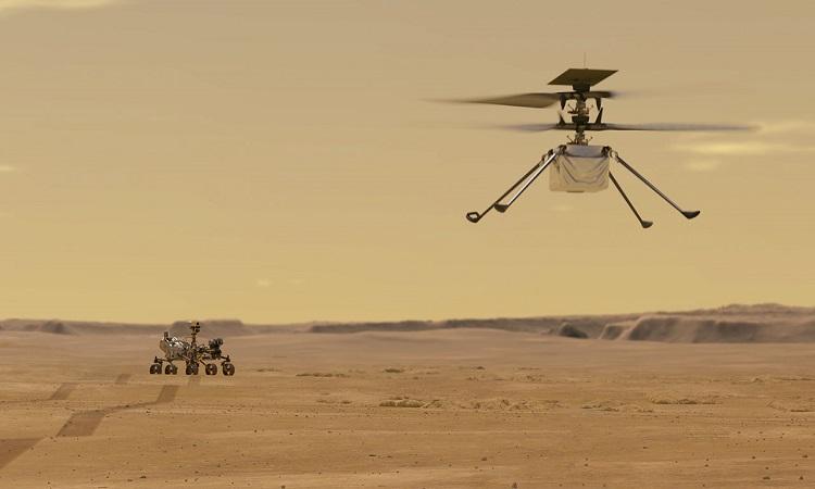 Mô phỏng trực thăng Ingenuity cất cánh. Ảnh: NASA.