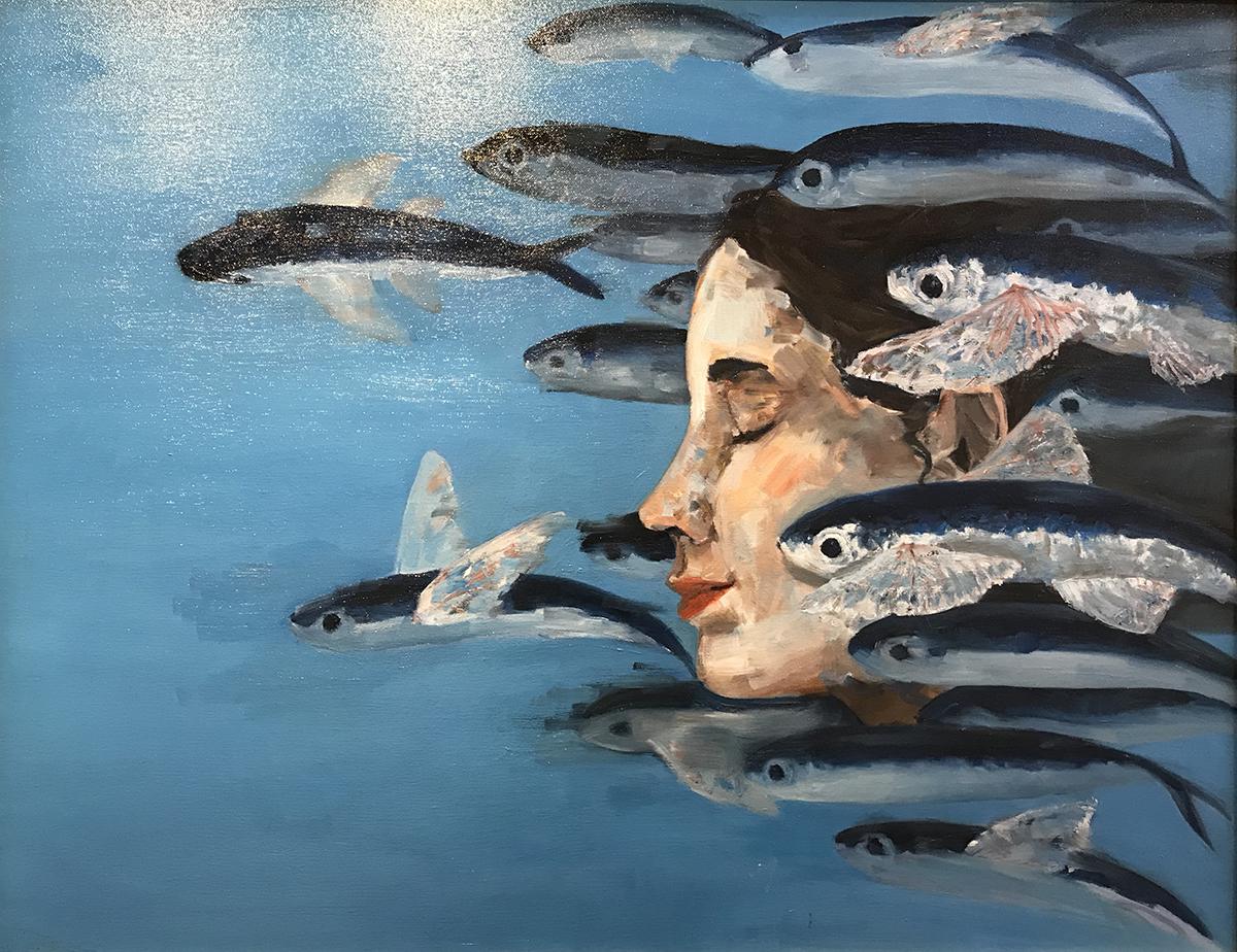 Tác phẩm Flight (Du ngoạn) của Chi Mai với chất liệu sơn dầu trên toan. Ảnh: Dương Tâm.