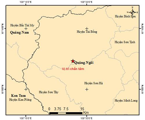 Vị trí chấn tâm của trận động đất lúc 11h20 ở huyện Trà Bồng, Quảng Ngãi. Ảnh: Viện vật lý địa cầu.