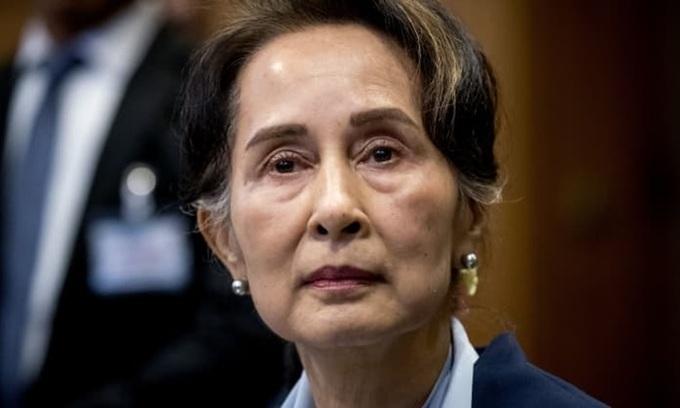 Cố vấn Nhà nước Myanmar Aung San Suu Kyi tại phiên điều trần trước Tòa Công lý Quốc tế của Liên Hợp Quốc năm 2019. Ảnh: AFP.