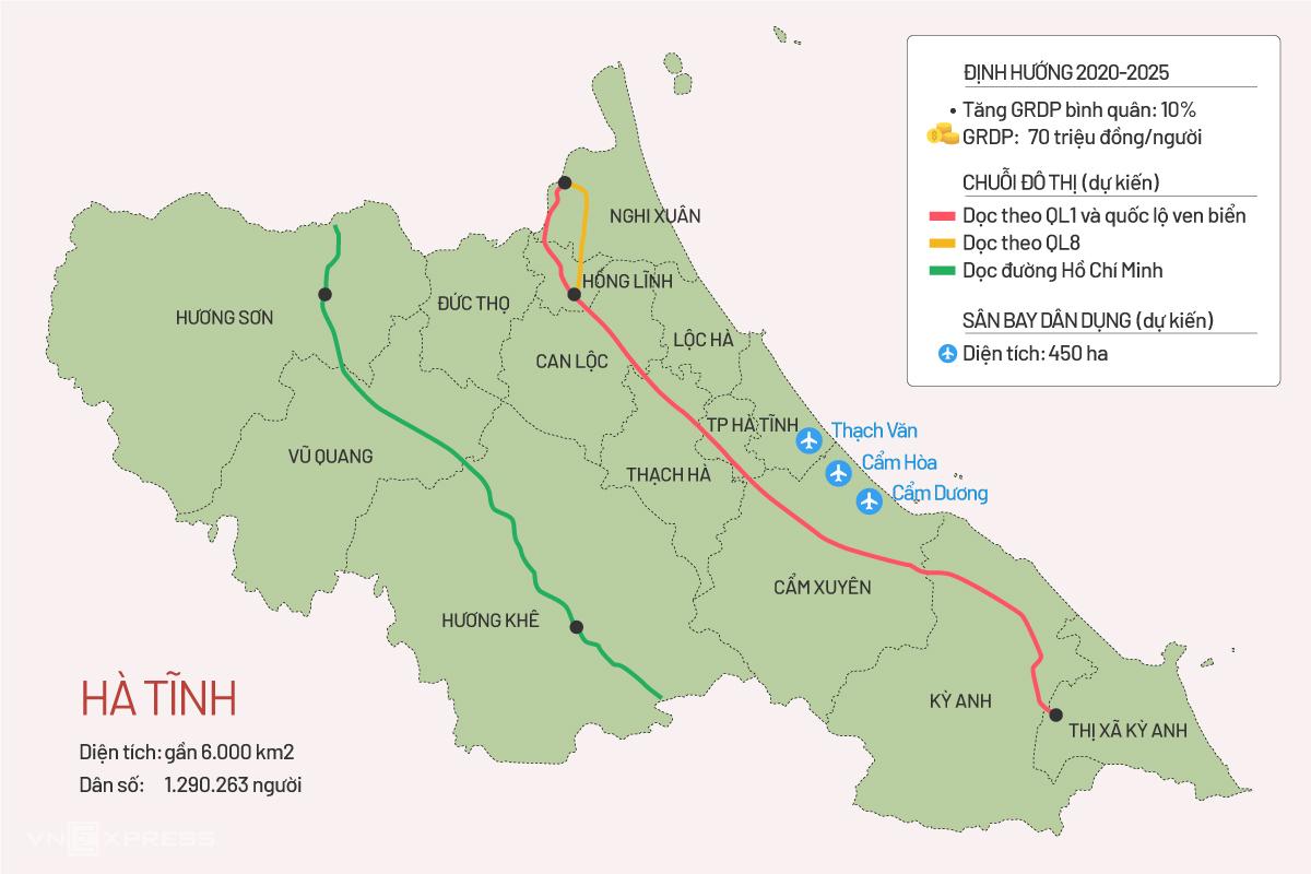 Các chuỗi đô thị và vị trí sân bay theo quy hoạch Hà Tĩnh. Đồ họa: Tiến Thành