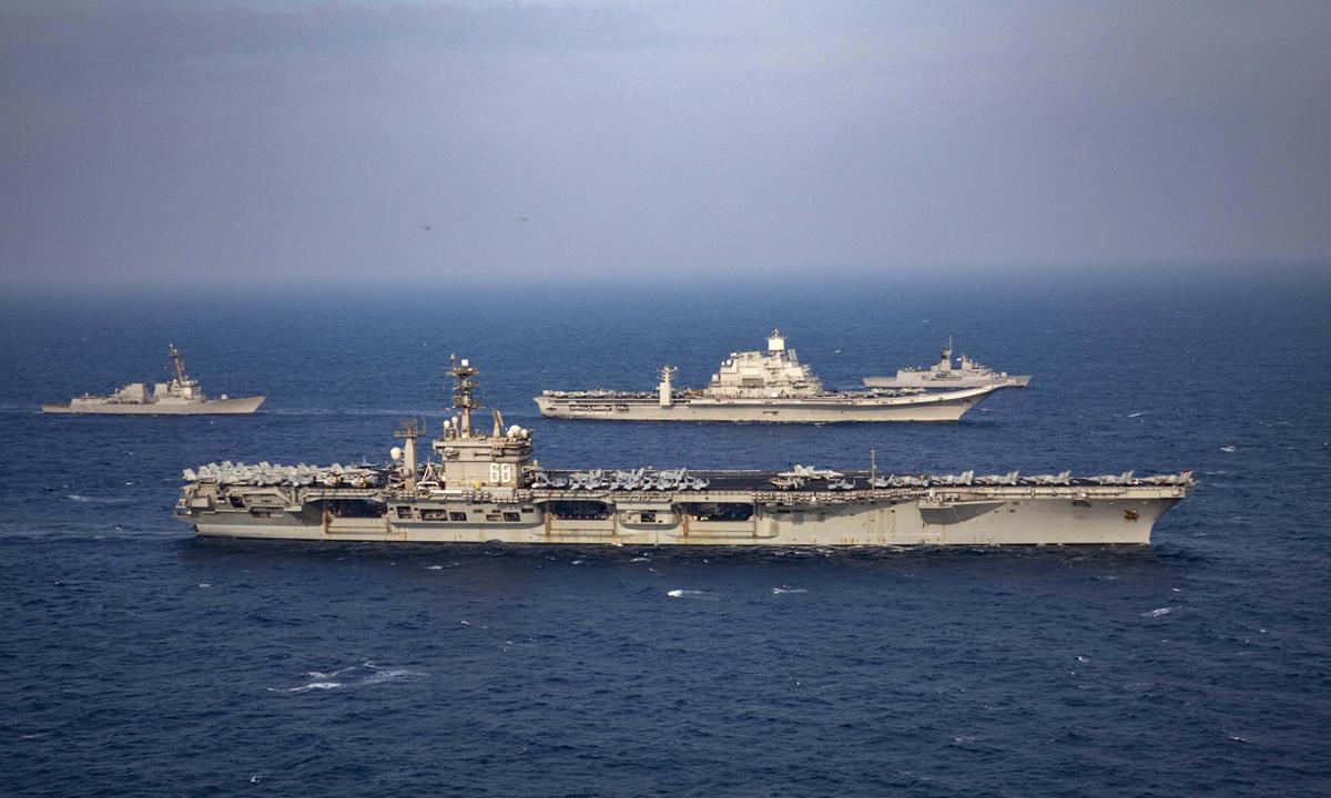 Tàu chiến và tàu sân bay Mỹ, Ấn Độ, Australia và Nhật Bản tập trận ở biển Arab hồi tháng 11/2020. Ảnh: AP.