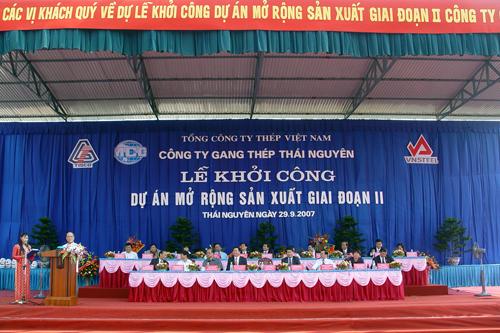 Ngày 29/9/2007, dự án Gang théo Thái Nguyên giai đoạn 2 chính thức khởi công. Ảnh: tisco.com.vn