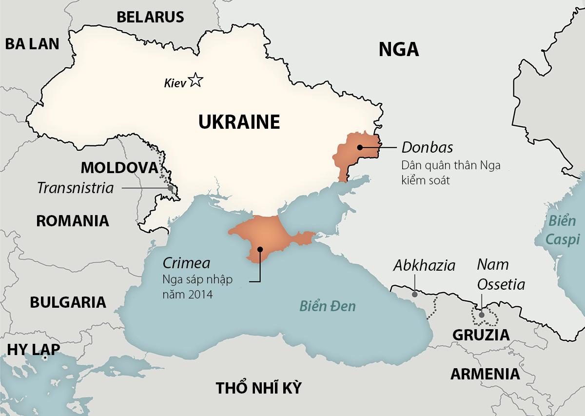 Khu vực Donbas và bán đảo Crimea. Đồ họa: Washington Post.