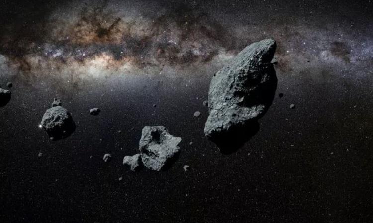 Mô phỏng nhóm tiểu hành tinh di chuyển trong vũ trụ. Ảnh: iStock.