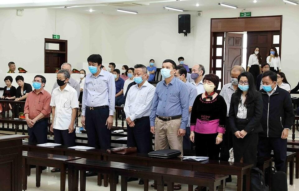 Các bị cáo trong vụ án gang thép Thái Nguyên giai đoạn 2. Ảnh: TTXVN