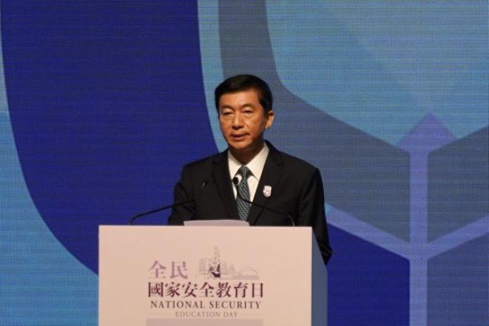 Giám đốc Văn phòng Liên lạc Chính quyền Trung ương Trung Quốc tại Hong Kong Lạc Huệ Ninh phát biểu trong lễ kỷ niệm ngày giáo dục luật an ninh quốc gia hôm nay. Ảnh: Reuters.