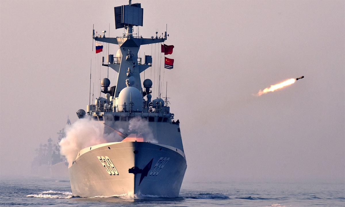 Hộ vệ hạm Vu Hồ của Trung Quốc tham gia diễn tập Join Sea tại Thanh Đảo, tháng 4/2019. Ảnh: Xinhua.