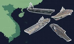Một tuần tàu sân bay Mỹ - Trung dằn mặt nhau trên Biển Đông