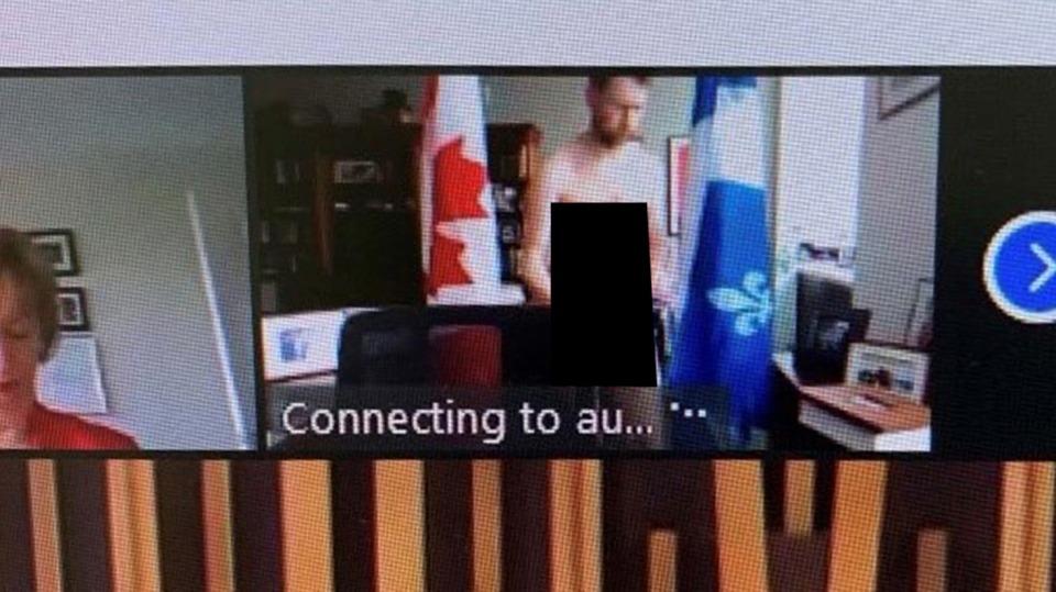 Nghị sĩ Amos lộ ảnh khỏa thân trong phiên họp video hôm 14/4. Ảnh: Canadian Press