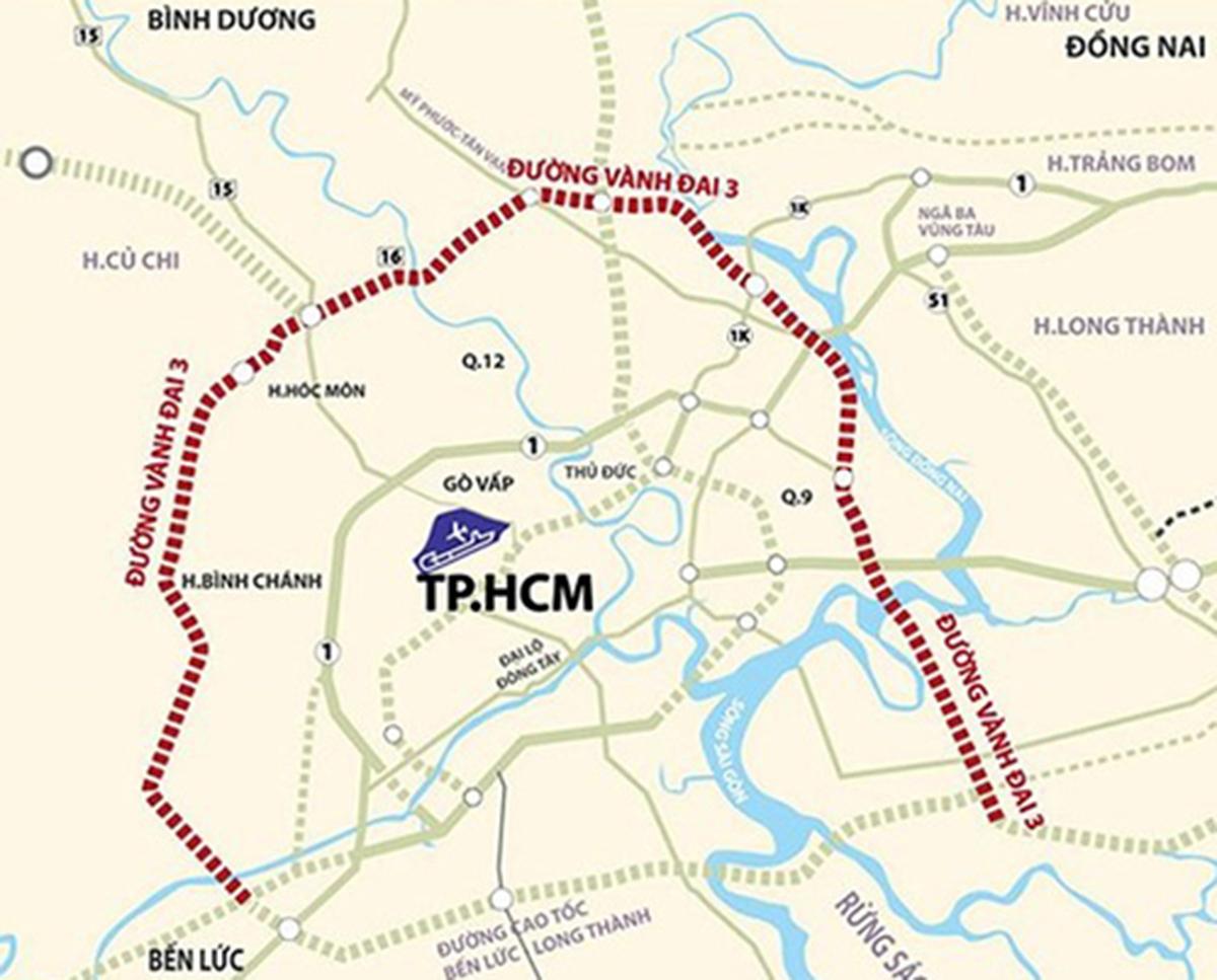 Sơ đồ đường Vành đai 3 TP HCM. Ảnh: Ban quản lý dự án Mỹ Thuận.