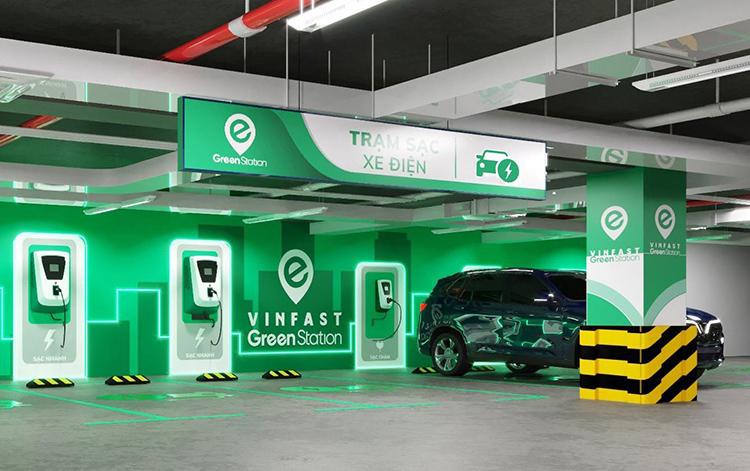 Một trạm sạc xe điện của VinFast.